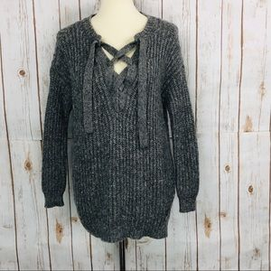 American Eagle Aerie Gray Lace Up Soft Sweater
